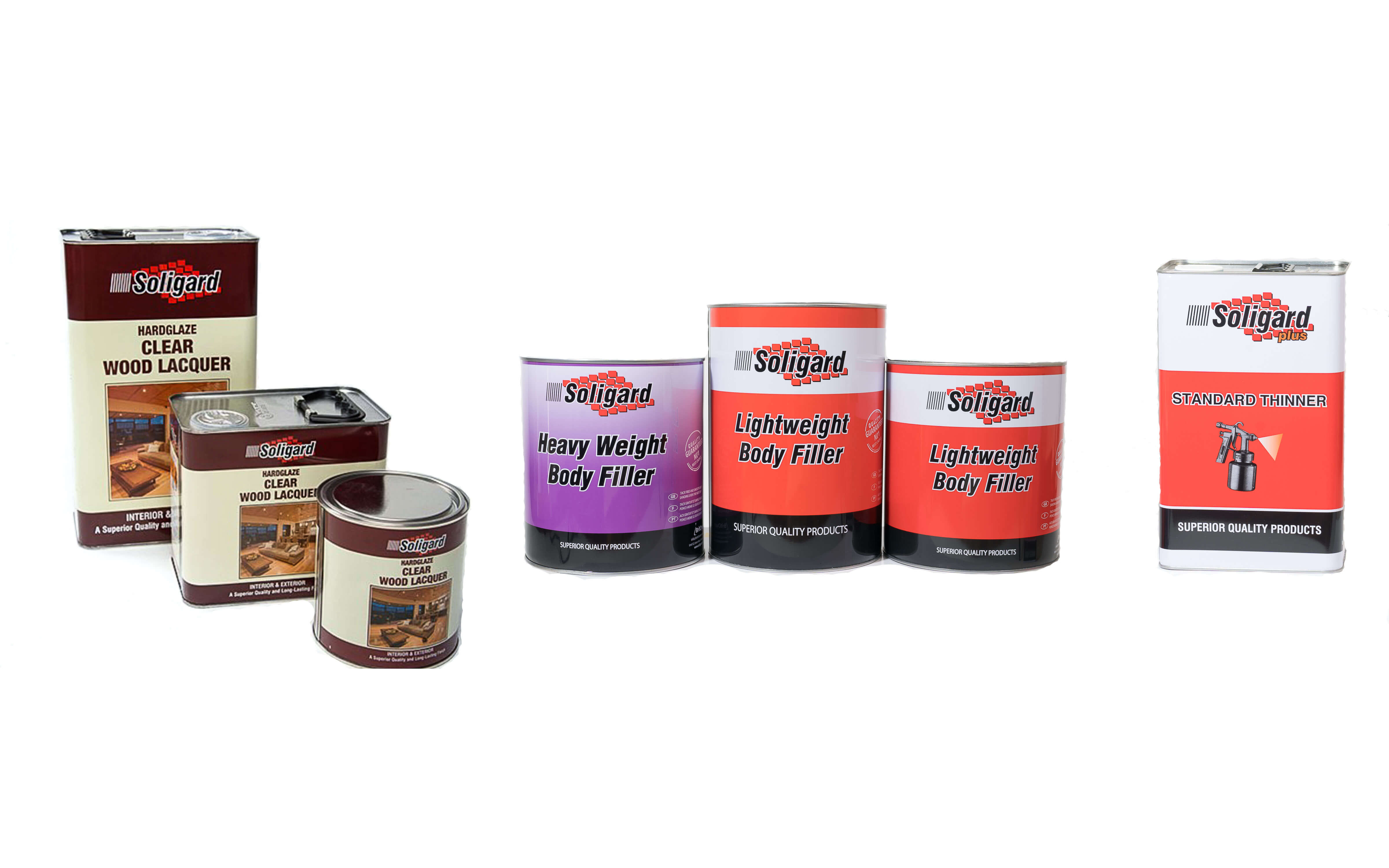 Soligard Clear Wood Lacquer, Body Fillers and Standard Thinner